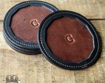 9 Sets of 4 - No. 5 Tavern Personalized Fine Leather Coaster Set - Debossed Letter Press Initial Coasters - Wedding Gift - Groomsman Gift