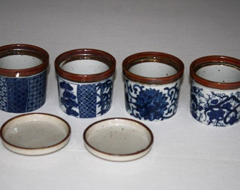"""Takahashi 4 Small Flower Herb Pots with 2 Saucer Plates """"Speckled Pottery Brown Blue"""""""