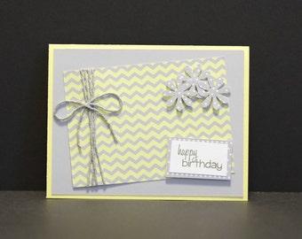 Handmade Birthday Card -- Grey/Yellow Chevron