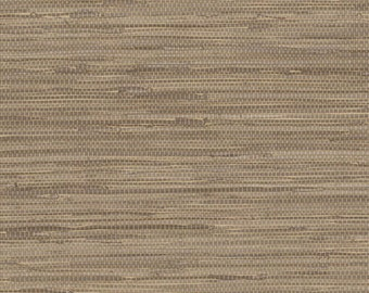 simulated soft brown grasscloth wallpaper nt33709 sold by the yard