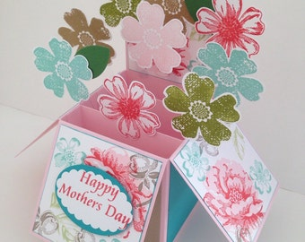 Handmade Happy Birthday Flowers Card in a box , 3d Flowers Card.