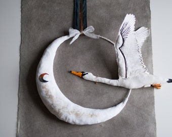 White moon-swan mobile, baby mobile,baby shower gift, nursery mobile....