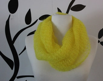 Bright Yellow Mohair and Silk Infinity Scarf