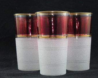 ON SALE Beautiful Frosted Cranberry Glasses