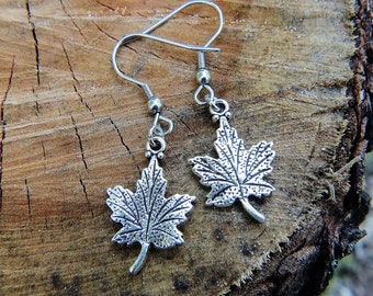 Jewelry, fall collection earrings, maple leaf earrings, silver maple leaf charm, silver earrings, dangle earrings, Christmas gift
