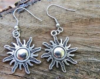 sun earrings, sun charm, silver sun charm, silver sun earrings, silver earrings, dangle earrings, Christmas gift
