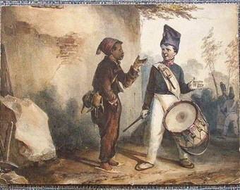 Antique hand tinted 'Please Give me Some Powder' drummer boy