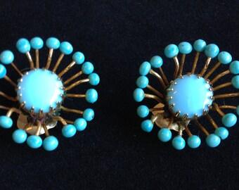 Sixties Sputnik Style Clip On Earrings.