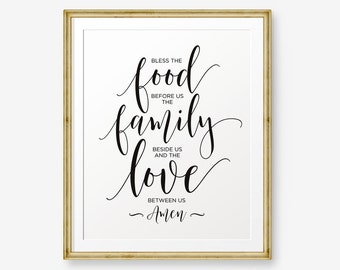 Bless the food before us, the family beside us and the love between us Amen, Kitchen Decor, Kitchen Art, Christian wall art, Gold