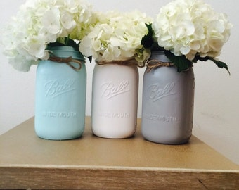 Blue, white and gray set of 3 hand painted mason jars