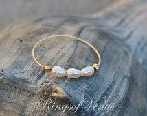 FREE SHIPPING Gold small pearl ring, freshwater pearl, 24K gold ring, unique gold stack, stacking ring, thin gold ring, pearl ring