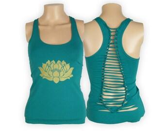 Lotus Design Cut Back Yoga Tank Top- Woven Cut Up Shirt- Cotton Lycra Blend WJ5