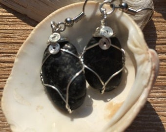 SALE!  Black stone earrings with silver wrap