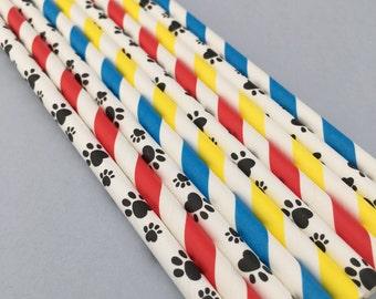 25 Paw Patrol Party Straws, Paw Print and Stripe Party Straws, Paw Party Straws