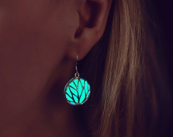 Glowing Earrings - Earrings - Turquoise Earrings - Glow in the Dark Earrings - Statement Earrings - Silver Earrings - For Her - Statement