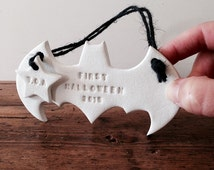 First halloween hanging decoration in white clay with personalised tag ~ nursery decor ~ nursery decoration ~ batman ~ baby gift ~ superhero