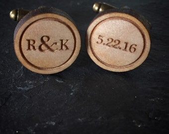 Personalized Cufflinks Wood Cufflinks/Laser Engraved/Hardwood Walnut/Cherry/Maple, Groomsman cufflinks, Wedding cufflinks, Engraved cufflink