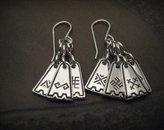 Silver Earrings with Latvian symbols