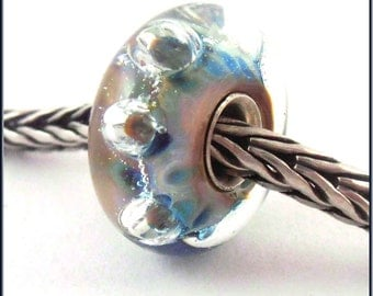 loversofbeads SRA artist handmade euro big hole - lampwork glass bead - lined with Sterling Silver - Made To Order - S721