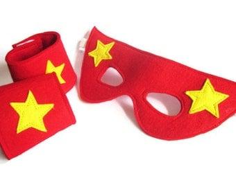 Superhero Mask and Cuffs Set -  Fancy Dress - Superhero Costume -  Dress Up - Felt Mask - Superhero Power Cuffs - Gift Set - Superhero Party