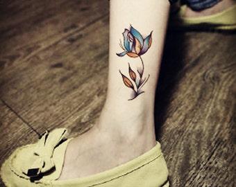temporary tattoo big blue rose flowers