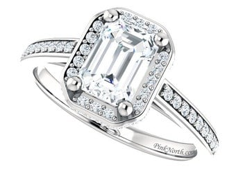 Emerald Cut White Sapphire Halo Engagement Ring - 1.35ctw Pavé Diamonds and White Sapphire Center Stone