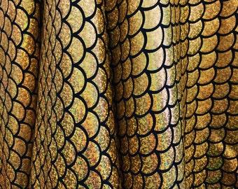"Gold Mermaid Scale 4 Way Stretch Hologram Spandex Fabric - BTY - 60"""