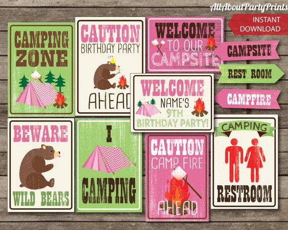 PDF format Instant Download Camping Birthday Party signs