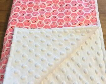 Pink owl baby/toddler blanket