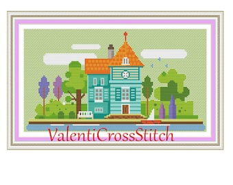 Little City Cross Stitch Pattern, Little Town, Modern Cross Stitch Pattern, Instant download