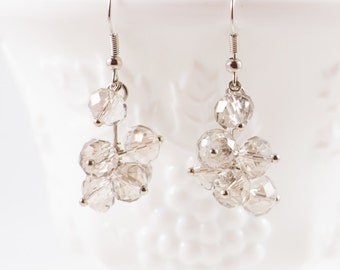 White and Silver Crystal Drop Earrings