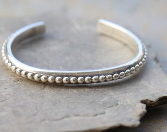 Sterling silver studded cuff bracelet