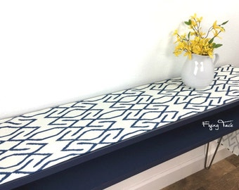 """Indigo/Navy and White Geometric Pattern Table Runner - 10"""" Wide x 60"""" Long"""