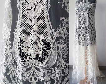Off White bridal lace fabric corded tulle Baroque latest fashion trend in bridal lace