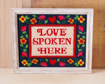 Love is Spoken Here Needlepoint Sampler Handmade