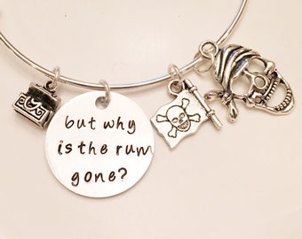 But Why is the Rum Gone? Captain Jack Sparrow Pirates of the Caribbean Inspired Johnny Depp Adjustable Bangle Charm Bracelet