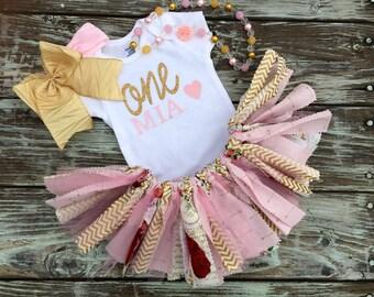 MONOGRAMMED FIRST BIRTHDAY/gold & pink first birthday/shabby chic first birthday/birthday girl/4 piece set