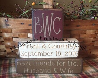 Personalized Primitive Wedding Blocks with Monogram