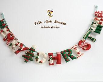 Lovely Merry Christmas felt banner,garland,decoration,gift