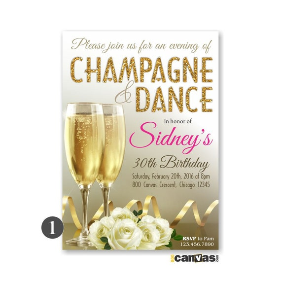 Champagne Birthday Invitation Adult Women Party Drink – Champagne Party Invitations