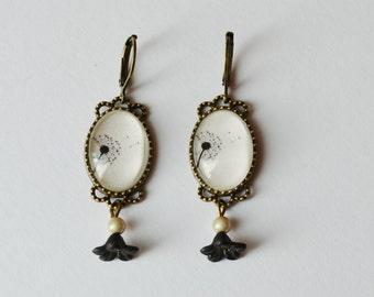 Beige and black dandelions earrings