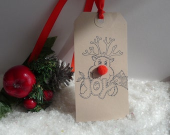 10 Large handmade Rudolph the red nose reindeer Christmas Gift Tags brown