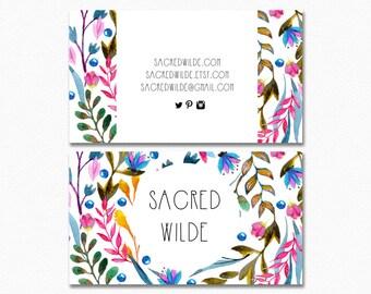 Bright Flower Business Card Design , Floral Design , Floral Business , Pink Flowers , Bohemian Business , Feminine Business , Leaf Design