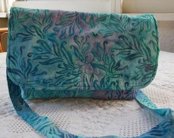 Aqua Blue/Purple Batik Leaf Messenger Bag