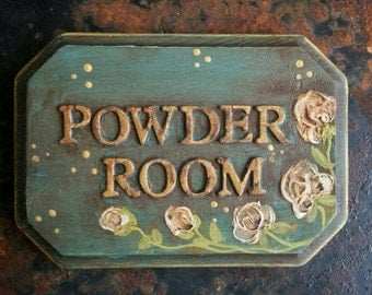 Powder Room Plaque For Wall Or Door In Antique Turquoise Blue With White  Flowers   Medium