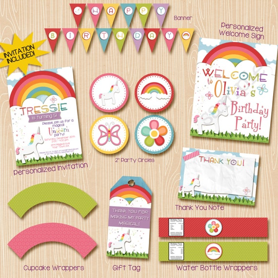 Rainbow Unicorn Birthday Party Invitation, Unicorn printable invitation. Printable party pack.
