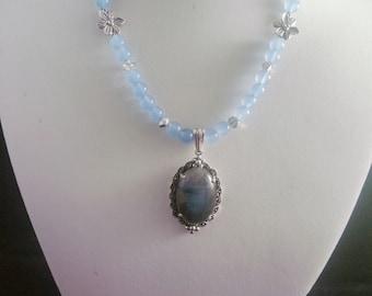 Labadorite Pendant, Aquamarine, Marcasite Steriling Silver Mount, SmokynBluDesigns