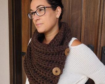 Crochet scarf, fall scarf, button scarf, button cowl