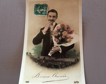Vintage French Christmas Postcard - Bonne Annee Gentleman