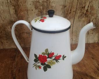 Vintage French Large Cream Enamel Teapot